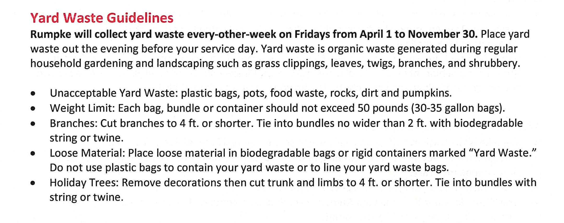 Rumpke Yard  Waste Guidelines